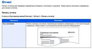 KYOCERA Печать сраницы состояния Ecosys М2735dw-M2835dw-M2640idw